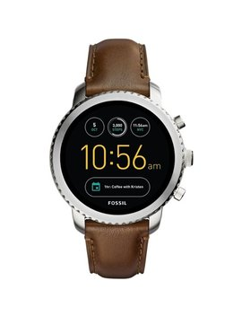 Gen 3 Explorist Smartwatch 46mm Stainless Steel   Stainless Steel With Brown Leather Strap by Fossil