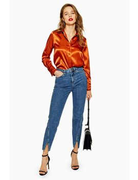 Mid Blue Tulip Hem Straight Jeans by Topshop