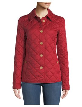 Frankby Button Front Quilted Jacket, Military Red by Burberry