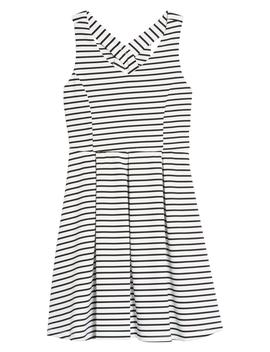 Rib Stripe Skater Dress by Ava & Yelly