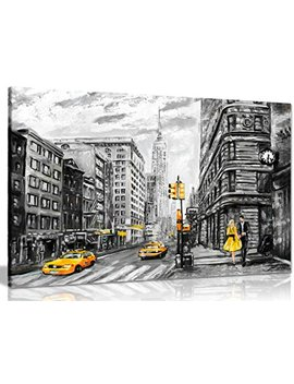 Black White Yellow New York City Oil Painting Canvas Wall Art Picture Print (36x24in) by Panther Print