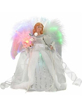 We R Christmas Fibre Optic Christmas Tree Top Topper Angel With Feather Wings, 25 Cm   Silver/White by We R Christmas