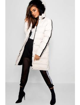 Longline Padded Coat With Tape Detail And Faux Fur Trim by Boohoo