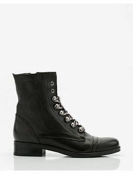 Italian Made Leather & Chain Combat Boot by Le Chateau
