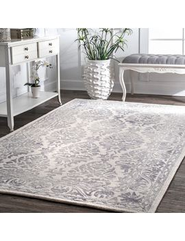 Nu Loom Light Grey Handmade Dip Dyed Damask Wool Area Rug by Nuloom