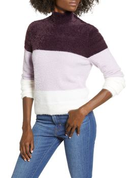 Fluffy Mock Neck Striped Pullover by Leith