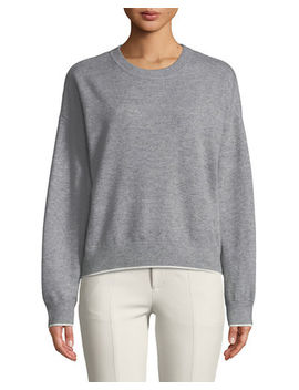 Double Layer Cashmere Cotton Crewneck Pullover Sweatshirt by Vince