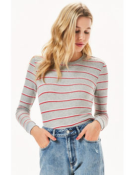Me To We Striped Clover Waffle Knit Long Sleeve T Shirt by Pacsun