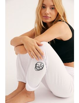 Elastic Waist Sweats With Skull Embroidery by Free People