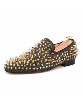 Hi&Hann Men's Long Rivet Suede Nubuck Leather Loafer Shoes Slip On Loafer Smoking Slipper by Hi&Hann