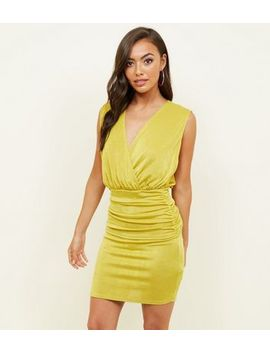Lime Green Draped Wrap Front Bodycon Dress by New Look