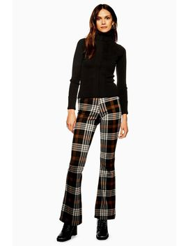 Brown Check Flared Trousers by Topshop
