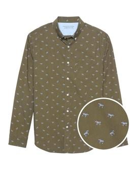 Camden Standard Fit Luxe Poplin Zebra Print Shirt by Banana Repbulic