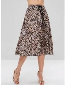 Pleated Leopard Flare Skirt   Leopard M by Zaful