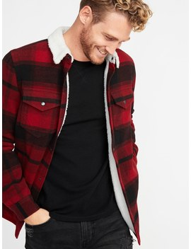 Plaid Wool Blend Sherpa Lined Shirt Jacket For Men by Old Navy