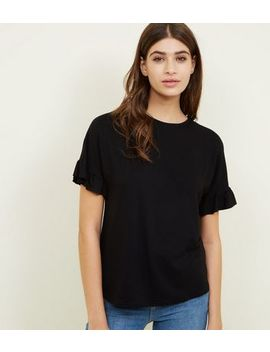 Black Ruffle Trim Sleeve Top by New Look