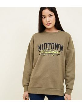 Khaki Neon Manhattan Slogan Oversized Sweatshirt by New Look