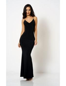 Black Strappy Plunge Maxi Dress by Club L London