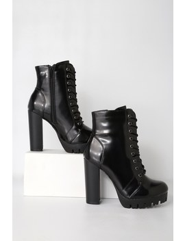 Gigi Black Patent Lace Up Platform Boots by Lulus
