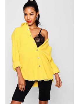 Norah Yellow Cord Raw Hem Shirt by Boohoo