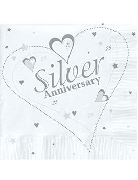 18 X Luxury Silver 25th Wedding Anniversary Party Napkins by Napkins