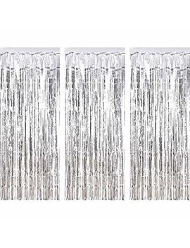 3 Pack Metallic Tinsel Curtains, Foil Fringe Shimmer Curtain Door Window Decoration For Birthday Wedding Party (Silver) by Sumind
