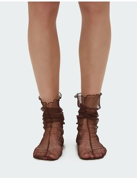 Hynde Tulle Sock In Brown by Rachel Comey