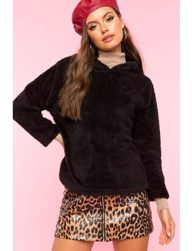 Teddy Bear Fur Hood Sweatshirt by A'gaci