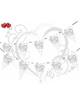 Party Decor 25th Silver Anniversary Heart Themed Bunting Banner 15 Flags For Guaranteed Simply Stylish Party Decoration by Party Décor