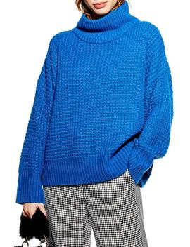 Weave Stitch Roll Neck Sweater by Topshop