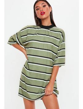 Khaki Oversized Striped T Shirt Dress by Missguided