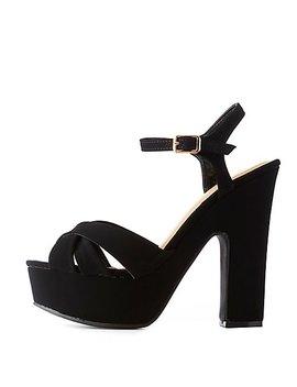 Faux Nubuck Platform Sandals by Charlotte Russe