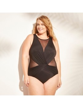 Women's Plus Size Mesh Inset One Piece Swimsuit   Aqua Green by Aqua Green