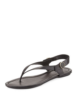 Minnie Leather Flat Travel Sandals by Tory Burch