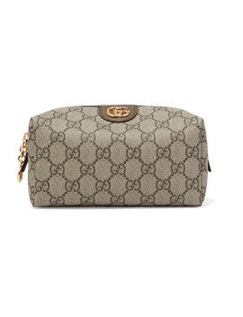 Ophidia Medium Textured Leather Trimmed Printed Coated Canvas Cosmetics Case by Gucci