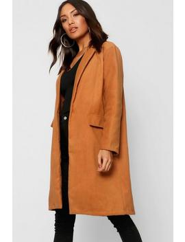 Collared Oversize Pocket Wool Look Coat by Boohoo