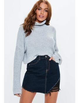 Blue Denim Asymmetric Rip Mini Skirt by Missguided