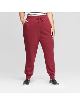 Women's Plus Size Jogger Pants   Ava & Viv™ Burgundy by Ava & Viv