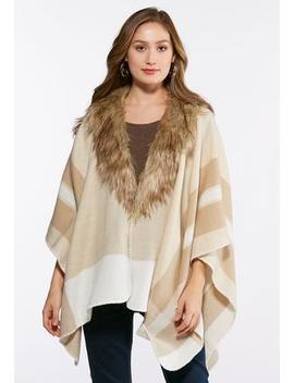 Fur Collar Fleece Poncho by Cato