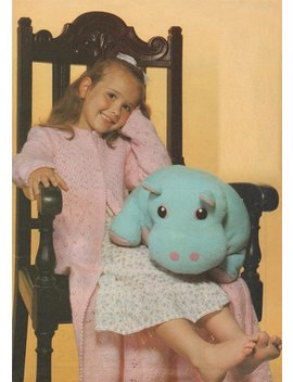 Girls Dressing Gown And Hippo Hippopotamus Toy   Hand Knit And Machine Knitting Pattern Pdf 24, 26 And 28 Inch Chest, Cuddly Toy, Download by Etsy