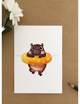 Swimming Baby Hippo by Etsy
