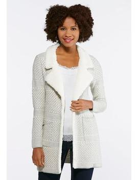 Fleece Collar Sweater Jacket by Cato