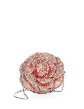 Crystal Beaded Apricot Rose Evening Bag by Judith Leiber Couture