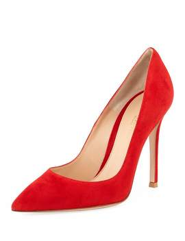 Suede Point Toe Pump by Gianvito Rossi