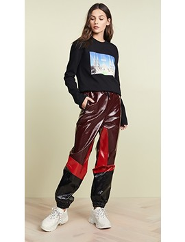 Faux Leather Track Pants by Msgm