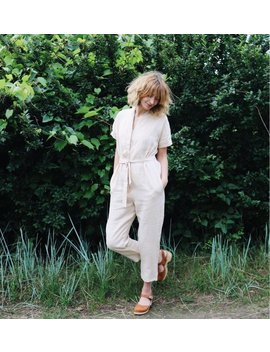 Linen Jumpsuit   Linen Kimono Jumpsuit   Ivory Linen Jumpsuit   Short Sleeve Linen Jumpsuit   Overall   Ivory Linen   Handmade By Offon by Etsy