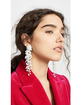 Delicate Flower Chain Drop Earrings by Oscar De La Renta