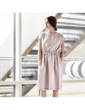 Basic Linen Dress With Elastic Waistband In Ashes Of Rose Color / Washed Linen Dress by Etsy