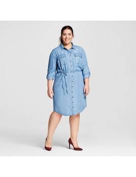Women's Plus Size Tencel Shirtdress   Ava & Viv™   Medium Wash 1 X by Ava & Viv