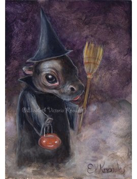 Halloween Witch Art, Halloween Art, Baby Hippo Print, Cute Art, Pop Surrealism, Evk by Etsy